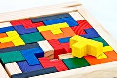 Puzzle di legno variopinto immagine stock libera da diritti