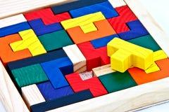 Puzzle di legno variopinto immagini stock libere da diritti