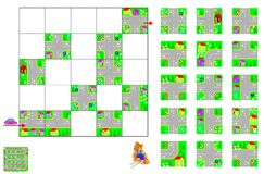 Puzzle di logica con il labirinto Tagli i quadrati e dispongali correttamente Debba passare in macchina tramite le vie che rispet Immagine Stock Libera da Diritti