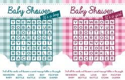 Puzzle di parola della doccia di bambino Fotografie Stock