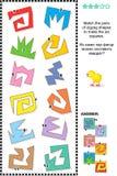 Puzzle di per la matematica - abbini le forme per fare i quadrati illustrazione vettoriale