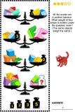 Puzzle di per la matematica con le scale, i pesi, i cubi, gli arché ed i mezzo cubi illustrazione di stock