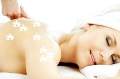 Puzzle di piacere di massaggio Fotografia Stock Libera da Diritti