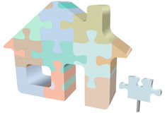 Puzzle di puzzle della casa di simbolo della Camera con il segno Fotografie Stock