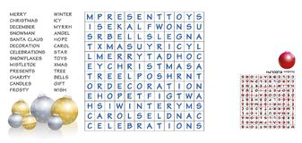 Puzzle di ricerca di parole di Natale illustrazione di stock