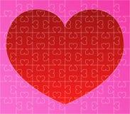Puzzle di vettore con cuore rosso Fotografia Stock Libera da Diritti