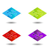 Puzzle in different colors Royalty Free Stock Photos
