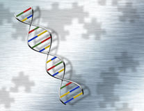 Puzzle DNA on Steel Royalty Free Stock Photos