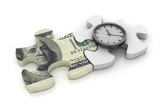 Puzzle with Dolar Bill and Clock Royalty Free Stock Photography