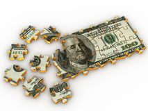 Puzzle dollar. On white background. 3d royalty free illustration