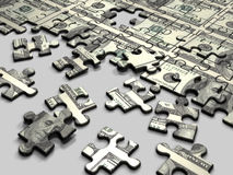 Puzzle Dollar. Wealth idea in a metaphor in a group of many important pieces to be reached the wealth Royalty Free Stock Photography