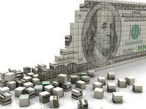 Puzzle dollar. Finance concept: puzzle dollar with pieces near by Stock Images