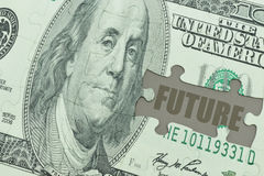 Puzzle with the dollar banknote and the text future . Royalty Free Stock Photos