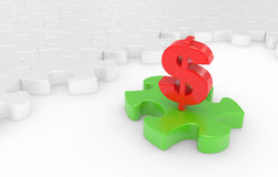 Puzzle and dollar sign Stock Images