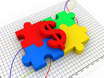 Puzzle with dollar sign Royalty Free Stock Image