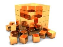 Puzzle dorato del cubo Fotografia Stock Libera da Diritti