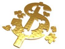 Puzzle dorato del dollaro Immagine Stock Libera da Diritti