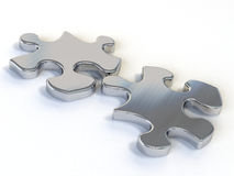 Puzzle dowels. Two pieces of a metal puzzle on a white background stock illustration