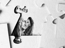 Puzzle du dollar, concept d'affaires de solution images stock
