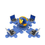 Puzzle_Earth_laptop Image libre de droits