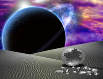 Puzzle egg on desert planet Royalty Free Stock Photo