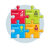Puzzle elements infographic composition, layout of jigsaw puzzle Royalty Free Stock Photography