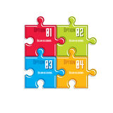 Puzzle elements infographic composition, layout of jigsaw puzzle Royalty Free Stock Image