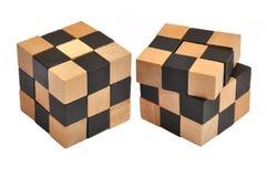 Puzzle en bois de cube Photographie stock libre de droits