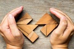 Puzzle en bois de tangram dans la forme distincte de coeur Photos libres de droits