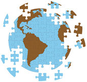 Puzzle-Erde-Kugel stock abbildung