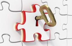 Puzzle et clé pour la solution Photos stock