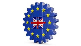 Puzzle  EU and UK. Gear-puzzle with a flag of the European Union and the United Kingdom.3D render.Alpha channel is included stock footage