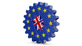 Puzzle  EU and UK. Gear-puzzle with a flag of the European Union and the United Kingdom.3D render.Alpha channel is included stock video footage