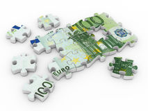Puzzle euro. On white background. 3d Stock Photography