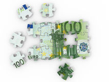 Puzzle euro. On white background. 3d Royalty Free Stock Images