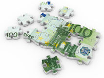 Puzzle euro. On white background. 3d Stock Image