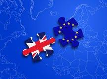 Puzzle European Union United Kingdom. United Kingdom and European Union in puzzle isolated on blue background Royalty Free Stock Images