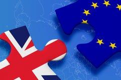 Puzzle European Union United Kingdom. United Kingdom and European Union in puzzle isolated on blue background Stock Photography