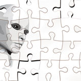 Puzzle with face. A person considered a puzzle from the back Royalty Free Stock Image