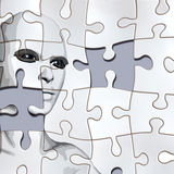 Puzzle with face. A person considered a puzzle from the back Stock Images