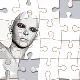 Puzzle with face. A person considered a puzzle from the back Royalty Free Stock Photography