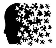 Puzzle face symbol. Creative design of puzzle pieces and human head Royalty Free Stock Photos