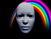 Puzzle facemask with rainbow Royalty Free Stock Photo