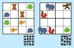 Puzzle facile de sudoku avec des animaux pour des enfants illustration stock