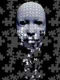 Puzzle falling mask composition Royalty Free Stock Images