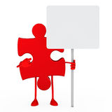 Puzzle figure hold billboard Royalty Free Stock Photography