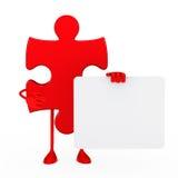 Puzzle figure hold billboard Stock Photo