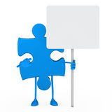 Puzzle figure hold billboard Stock Images