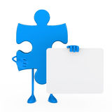 Puzzle figure hold billboard Royalty Free Stock Image
