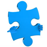 Puzzle figure point. Puzzle jigsaw blue figure point hand finger Royalty Free Stock Photos